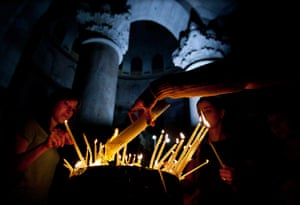 Easter Sunday: Christian worshippers in the Holy Sepulchre