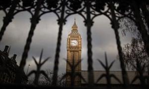Big Ben through railings