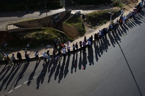 kenya elections: Voters stand in a long queue, just befor