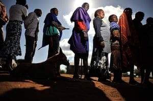 kenya elections: Masaai line up to vote in Ilbissil
