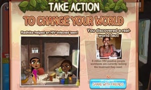 Screen shot of Half the Sky Facebook game