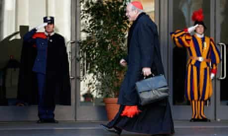 Austrian cardinal Christoph Schoenborn arrives for a meeting as part of the election of a new pope