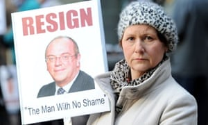 Julie Bailey, founder of Cure The NHS, demanding the resignation of Sir David Nicholson, the NHS chief executive who is giving evidence today to the Commons health committee about the Mid Staffs hospital trust scandal.