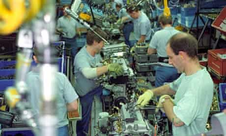 Assembly line at Nissan car factory