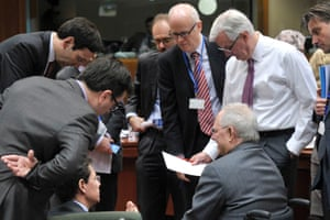 EU commissioner Michel Barnier (right) and experts talk with Germany Finance minister Wolfgang Schäuble (front right). Photograph: ERIC VIDAL/REUTERS