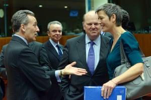 From the left, Italy's finance minister Vittorio Grilli, Ireland's minister of finance Michael Noonan and Denmark's finance minister Margrethe Vestager. Photograph: ERIC VIDAL/REUTERS
