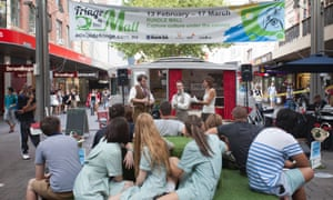 The Fringe pop-up tent in Adelaide's Rundle Mall