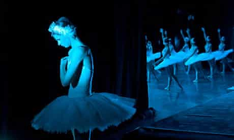 Ballerina from Kremlin Ballet troupe waiting for her turn backstage in performance of Swan Lake