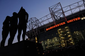 Utd v Real: The statue of Best, Law and Charlton outside Old Trafford