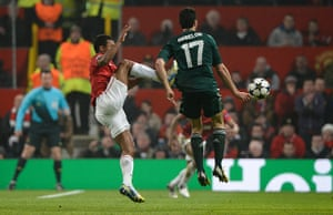 United v Real Madrid 2: Nani fouls Alvaro Arbeloa and is sent off