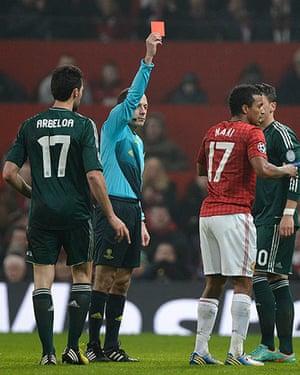 United v Real Madrid 2: Nani is sent off