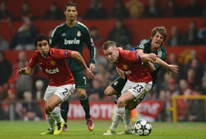 Man Utd v Real Madrid: Cleverly blocks off Coentrao