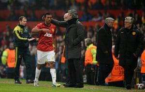Man Utd v Real Madrid: Nani gets a pat on the head from Jose Mourinho