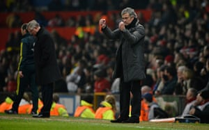 Man Utd v Real Madrid: Jose Mourinho signals to his keeper after he made a save late in the game