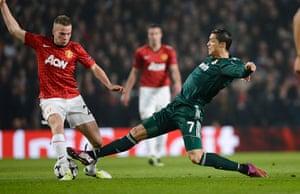 Man Utd v Real Madrid: Tom Cleverley and Cristiano Ronaldo