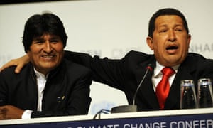 Evo Morales, the Bolivian president, with Hugo Chávez during Copenhagen climate talks in 2009