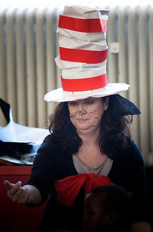 World book day 2013 teachers get into character to inspire their world book day cat the hat at lyndhurst school solutioingenieria Images