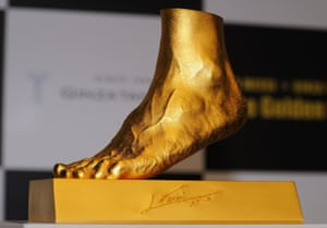 Golden statue of the left foot of Lionel Messi is displayed at the launching at Harajuku Quest Hall in Tokyo, Japan. The 25-kilogram golden replica is priced at 498.7 million Japanese yen.