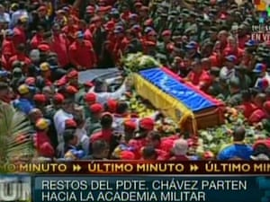 Hugo Chavez funeral cortege