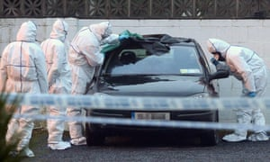 Forensic garda attend the scene where a man has been shot dead in Gormanstown, Co Meath, Ireland.