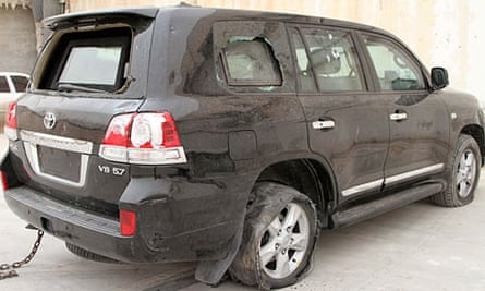 Libyan national congress Speaker's Land Cruiser riddled with bullets