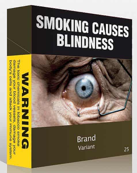 An example of proposed plain packaging from Australia; less attractive, and large health warning