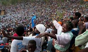Supporters of Rwandan president Paul Kagame 2010