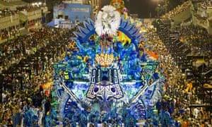Revelers of Portela samba school perform