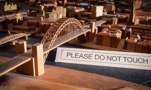 A model of Newcastle with a 'please do not touch' sign