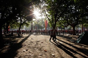 Hugo Chavez funeral: People queue outside the military academy