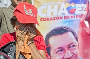 Hugo Chavez funeral: A supporter of the late President Hugo Chavez weeps