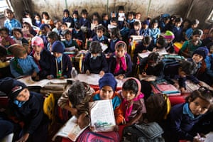 India education gallery: Overcrowded classes at Madanpur Khadar primary school