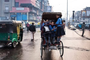 India education gallery: Schoolgirls on way to school in the morning