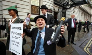 Protesters at the British Bankers' Association conference