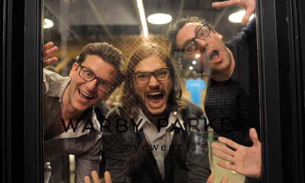 Ashton Kutcher with Warby Parker co-founders Dave Gilboa and Neil Blumenthal.