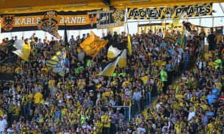 A Bundesliga match between Alemannia Aachen and FSV Frankfurt at Tivoli Stadium, Aachen