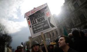 Campaigners protest in Trafalgar Square against the government's impending 'bedroom' tax