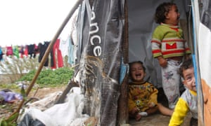 Syria children at refugee camp in Lebanon