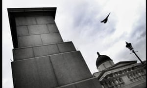 The empty plinth in Trafalgar Square, London.