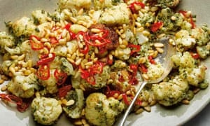 fried cauli with pine nuts, capers and chilli