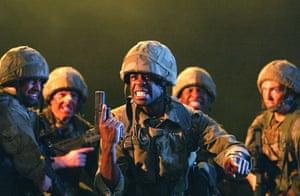 Nicholas Hytner: Adrian Lester (Henry V) in scene from Henry V, 2003