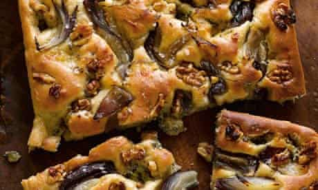 Blue cheese, red onion and walnut focaccia