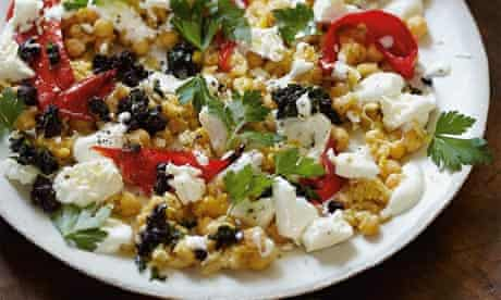 Warm chickpea salad with ewe's cheese, roast chillies, parsley and olives
