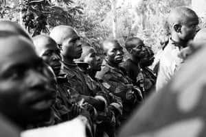 Minova DRC rape: Soldiers listen to Lt Colonel Aarom as he gives his sermon