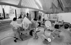 Paolo Soleri: Paolo Soleri's underground workshop at Cosanti, 1969