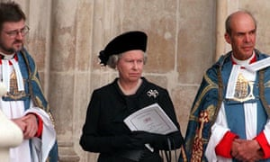 The Queen at Princess Diana's funeral