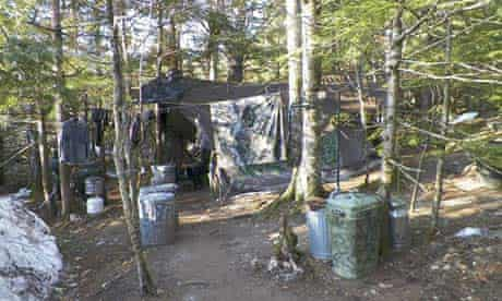 The woodland camp where Christopher Knight is believed to have lived for up to 27 years