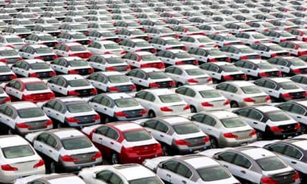 Hundreds of Nissan vehicles at the Oppama Wharf, Japan