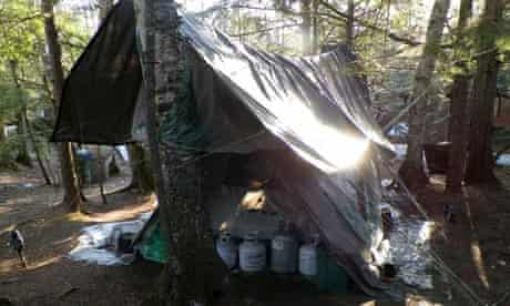 Christopher Knight's makeshift tent in the Maine woods.