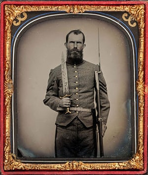 Civil war photography: 48. Confederate Sergeant, Standing, with Large Bowie Knife.jpg